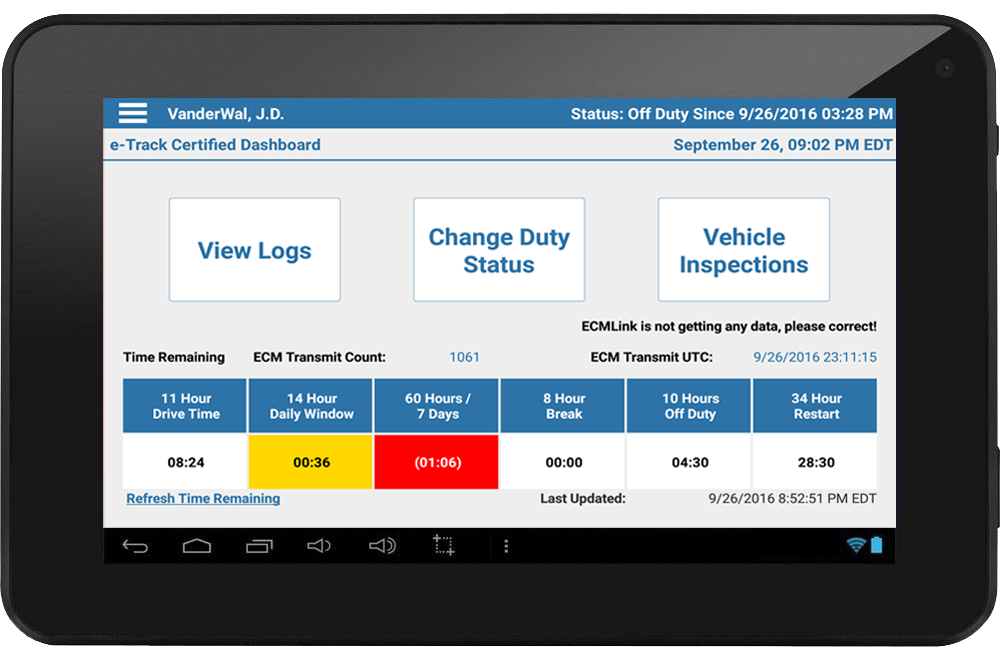 tablet electronic logging device (ELD) screen